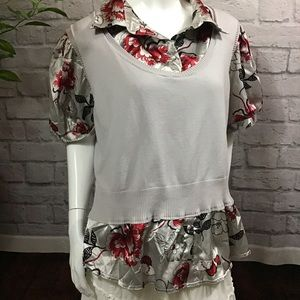 🍭 SALE 3/$10 Layered knit & satin gray floral top